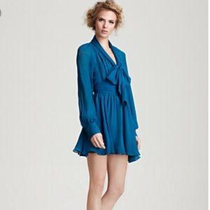 Rachel Zoe Turquoise chiffon dress in size 2
